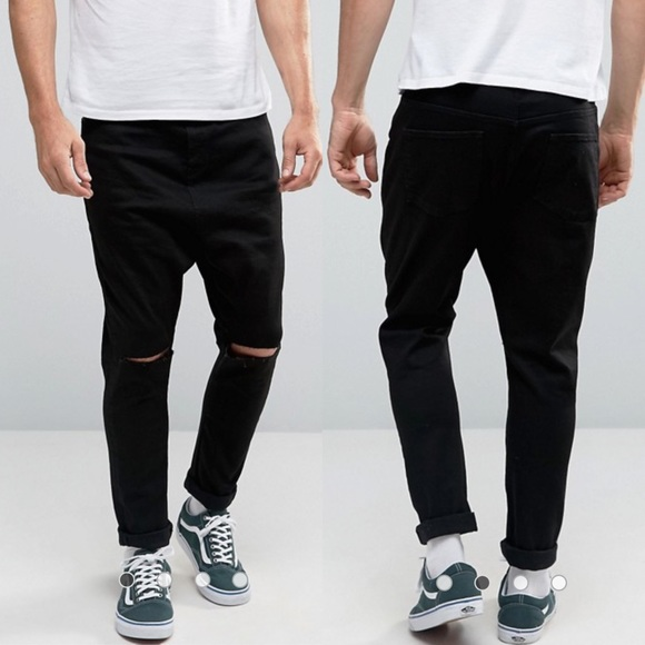 ASOS Other - ASOS Drop Crotch Jeans In Black With Knee Rips